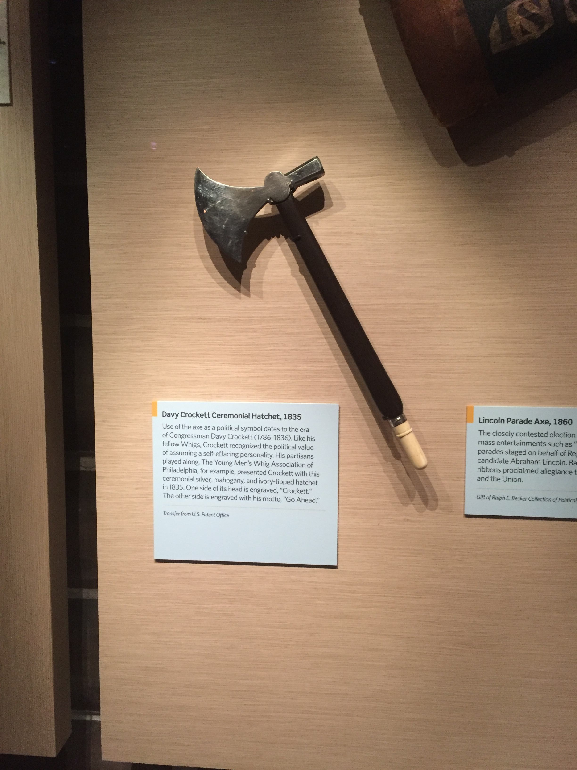 Here's an object with a Tennessee connection. Davy Crockett received this  ceremonial hatchet from a group of admirers in 1835.